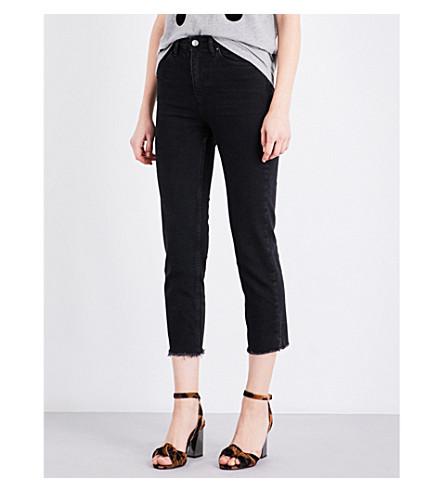 TOPSHOP Frayed-hem skinny mid-rise jeans (Washed+black