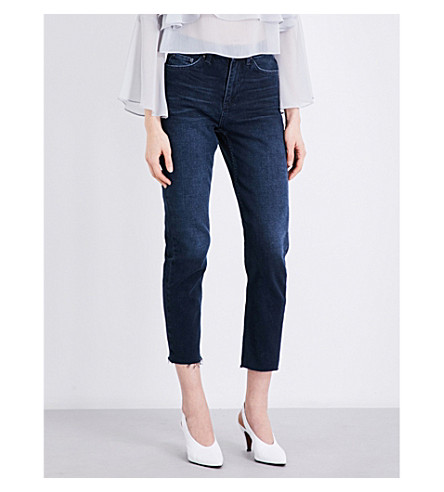 TOPSHOP Midnight frayed-hem straight cropped high-rise jeans (Midnight+blu
