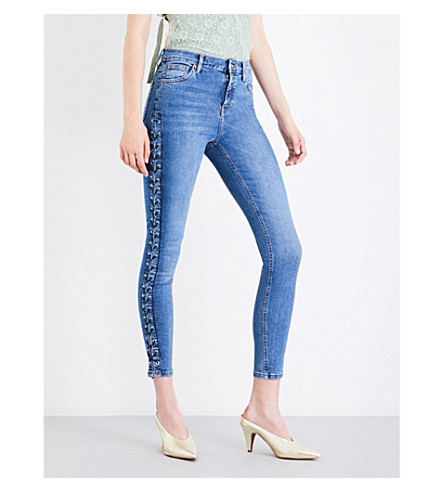 TOPSHOP Lace-up skinny high-rise jeans (Mid+stone