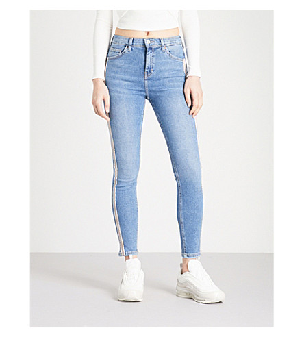 TOPSHOP Embellished-trim Jamie skinny high-rise jeans (Mid+stone