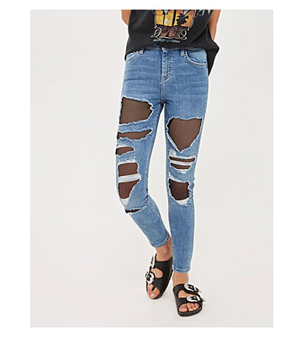 TOPSHOP Moto Jamie fishnet super skinny high-waist jeans (Mid+stone