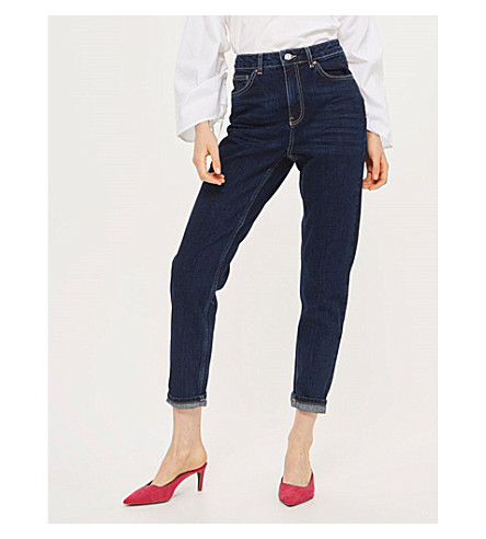 TOPSHOP Moto Mom tapered high-rise jeans (Dark+stone