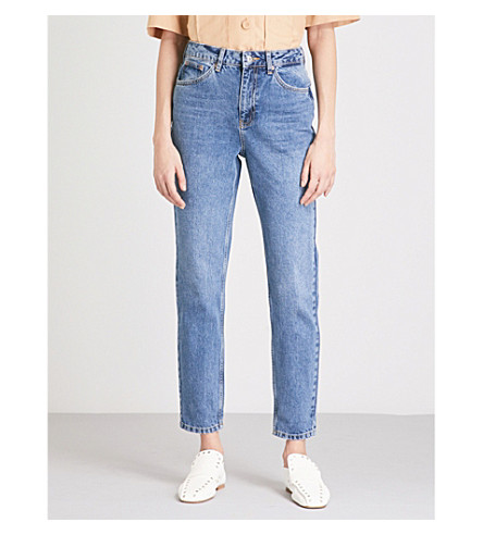 TOPSHOP Mom-fit tapered high-rise jeans (Mid+stone
