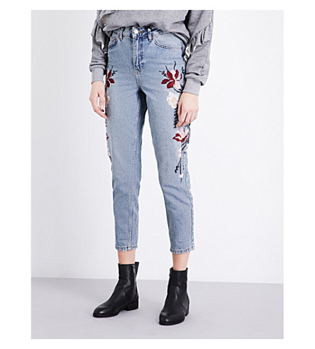 TOPSHOP Embroidered Moto Mom high-rise jeans (Blue