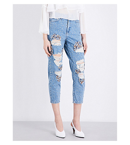 TOPSHOP Gem embellished distressed mom-fit high-rise jeans (Bleach+stone
