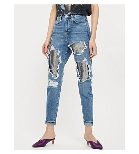 TOPSHOP Metallic-underlay slim-fit tapered high-rise jeans (Bleach+stone