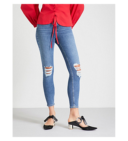 TOPSHOP Jamie cropped mid-rise distressed skinny jeans (Mid+stone