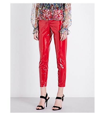 TOPSHOP Skinny cropped vinyl trousers (Red