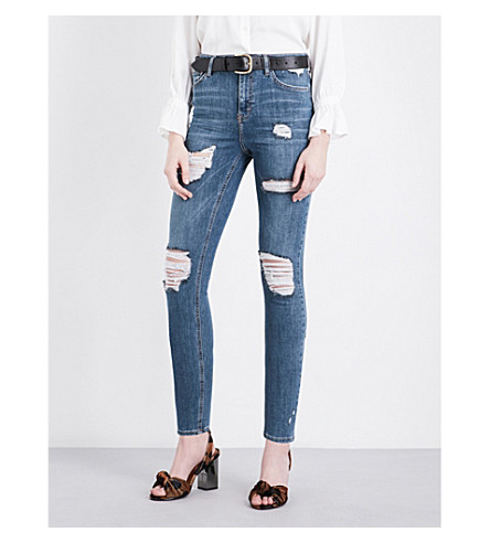 TOPSHOP Distressed Jamie high-rise skinny jeans (Mid+stone