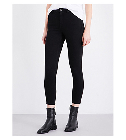 TOPSHOP Jamie embroidered skinny mid-rise jeans (Black