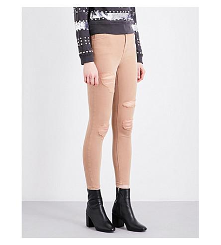 TOPSHOP Distressed skinny mid-rise jeans (Tan