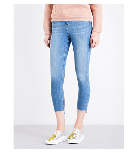 TOPSHOP Jamie stepped-hem skinny high-rise jeans (Blue+green