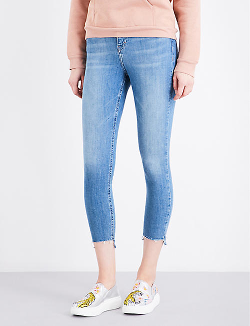 Jamie stepped-hem skinny high-rise jeans