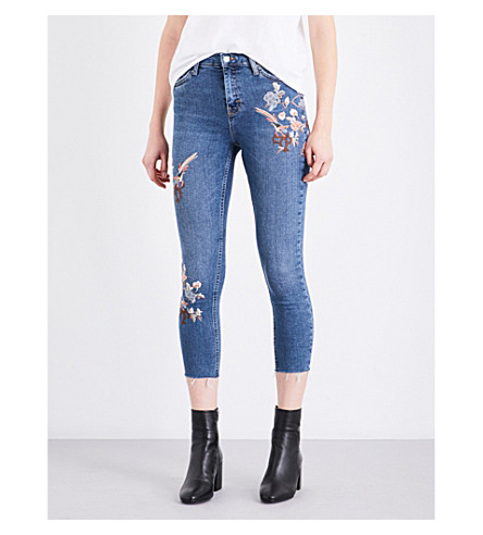 TOPSHOP Jamie embroidered skinny mid-rise jeans (Mid+stone