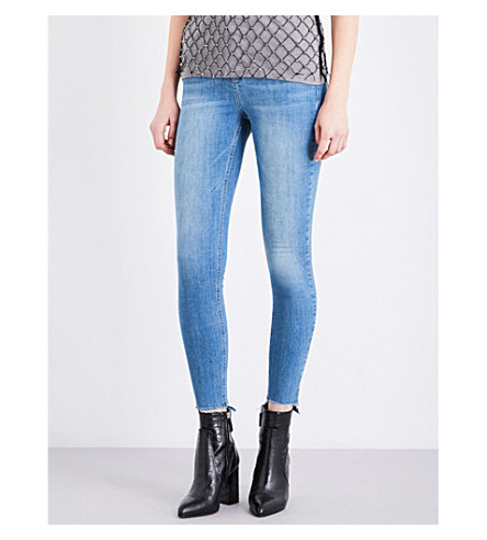 TOPSHOP Jamie stepped-hem skinny mid-rise jeans (Blue+green