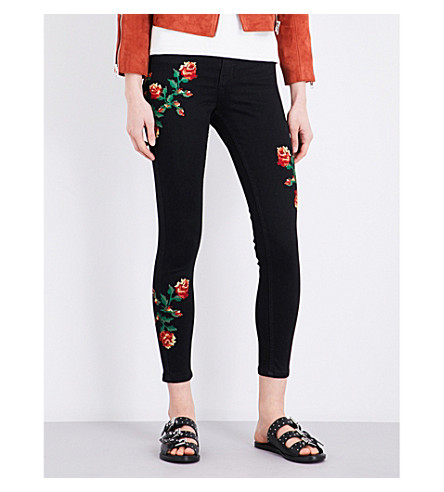 TOPSHOP Embroidered Jamie skinny high-rise jeans (Black