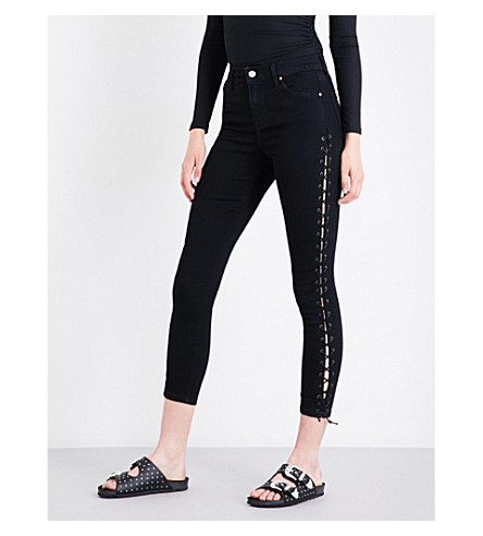 TOPSHOP Lace-up skinny high-rise jeans (Black