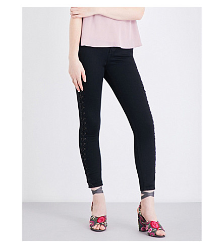 TOPSHOP Laced skinny high-rise jeans (Black