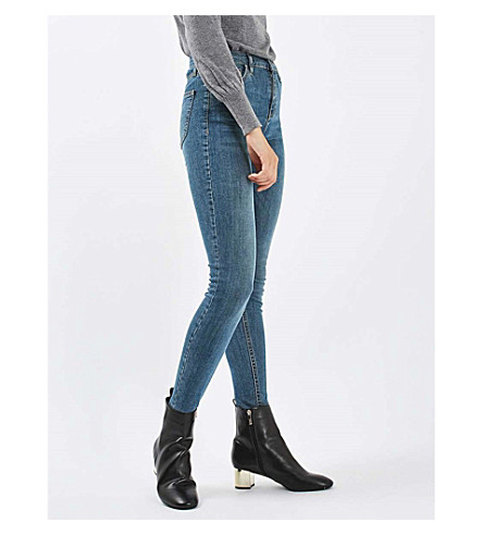 TOPSHOP Jamie skinny cropped high-rise jeans (Mid+stone