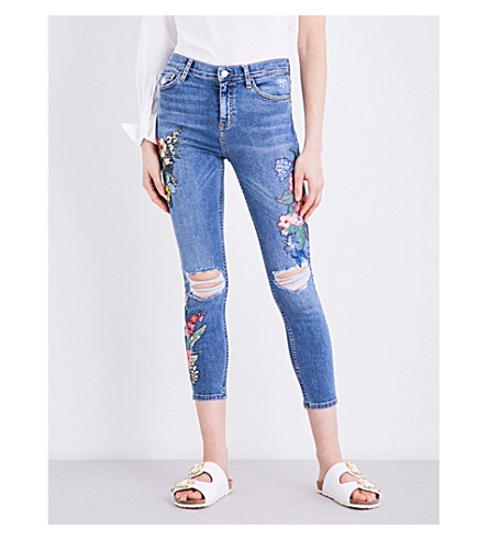 TOPSHOP Moto embroidered slim-fit skinny jeans (Mid+stone