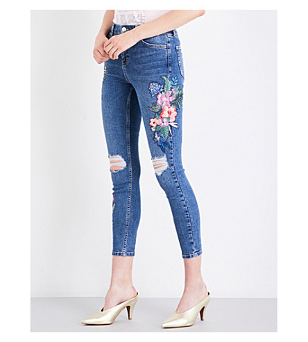 TOPSHOP Floral-embroidered skinny high-rise jeans (Mid+stone
