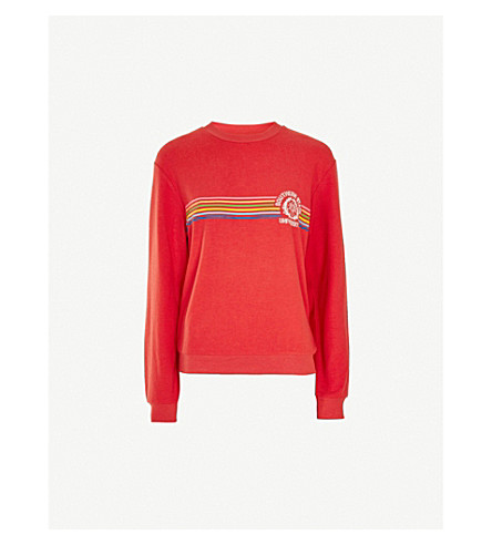 TOPSHOP Southern jersey sweatshirt (Red