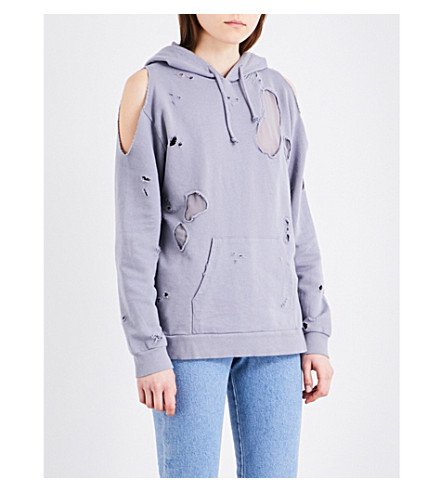 TOPSHOP Distressed cotton-jersey hoody (Mauve