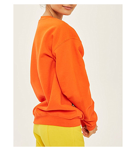 TOPSHOP Floral appliqué cotton-blend sweatshirt (Orange