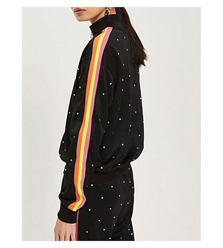 TOPSHOP Striped woven track jacket (Black