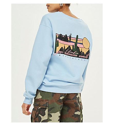 TOPSHOP Wanderlust cotton-jersey sweatshirt (Blue