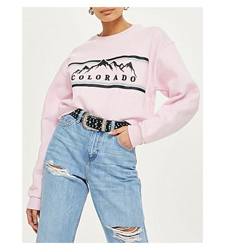 TOPSHOP Colorado jersey sweatshirt (Pink
