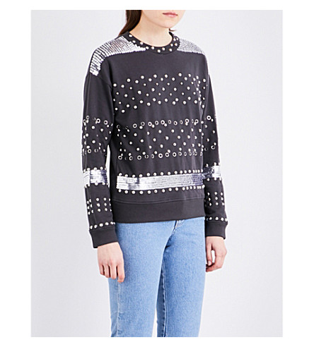TOPSHOP Embellished knitted sweater (Petrol