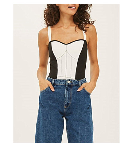 TOPSHOP Contrast-detail jersey body