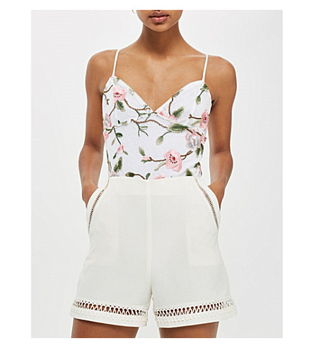TOPSHOP Floral-embroidered lace bodysuit (Cream