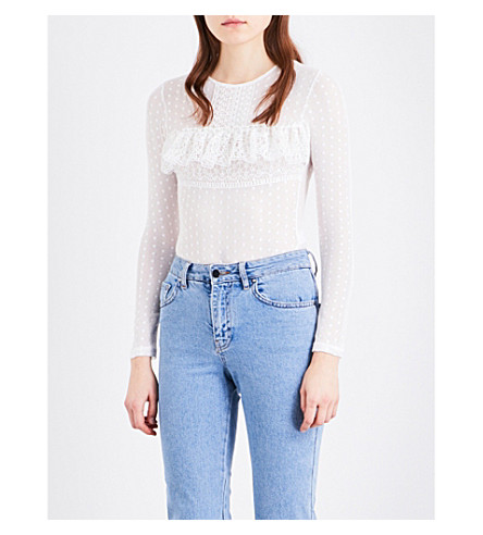 TOPSHOP Ruffled polka-dot stretch-mesh body (White
