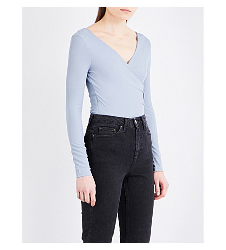 TOPSHOP Ribbed jersey bodysuit (Dusty+blue