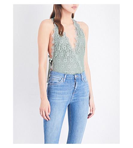 TOPSHOP Plunge lace bodysuit (Sage