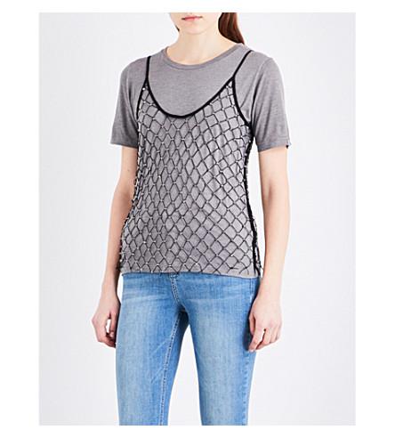 TOPSHOP Studded mesh overlay top (Grey+marl