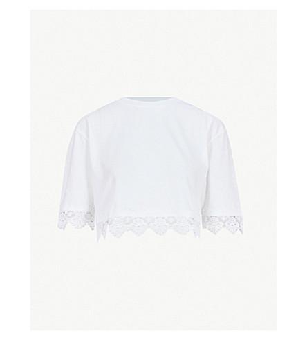 TOPSHOP Lace-trim cotton T-shirt (White