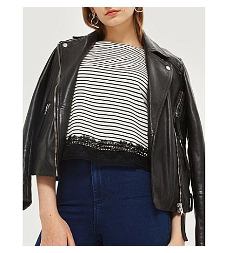 TOPSHOP Lace-trim striped cotton-blend T-shirt
