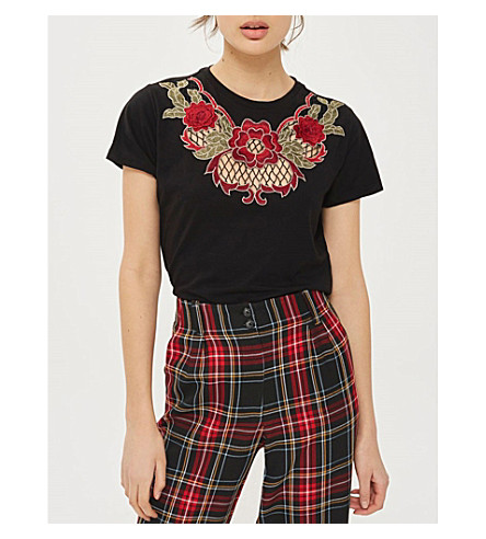 TOPSHOP Rose-embroidered cotton-blend T-shirt (Black