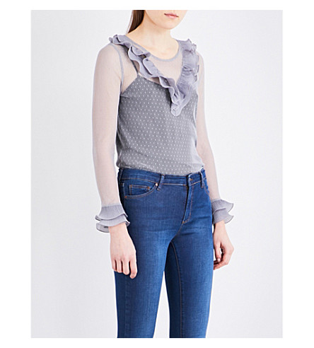 TOPSHOP Dotted mesh blouse (Grey+blue