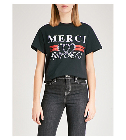 TOPSHOP 谢谢图形平纹针织棉 T 恤 (黑色