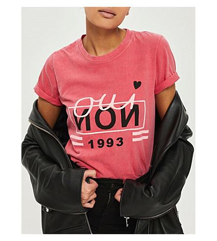TOPSHOP Oui Non cotton T-shirt (Red