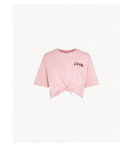 TOPSHOP Love lip-print cotton T-shirt (Pink