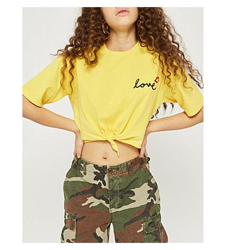 TOPSHOP Love lip-print cotton T-shirt (Yellow