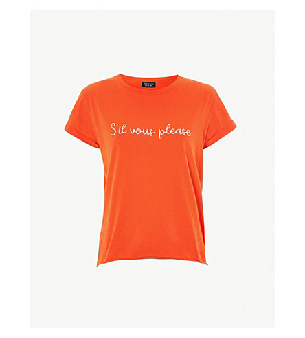 TOPSHOP Sil Vous Please cotton T-shirt (Red