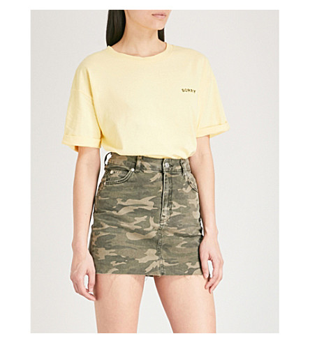 TOPSHOP Sorry Not Sorry embroidered cotton-jersey T-shirt (Yellow