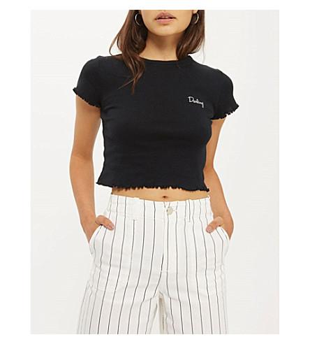 TOPSHOP 口号平纹针织棉 T 恤 (黑色