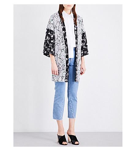 TOPSHOP Floral-print satin kimono (Multi